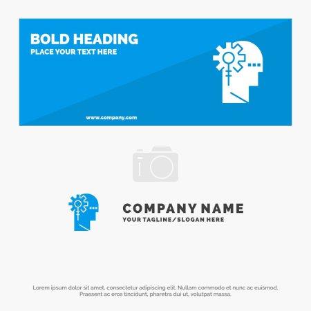 Illustration pour Analytique, critique, humain, information, traitement Bannière de site Web SOlid Icon et modèle de logo d'entreprise - image libre de droit