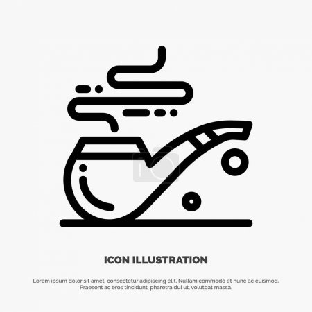 Illustration for Pipe, Smoke, St. Patrick, Tube Line Icon Vector - Royalty Free Image