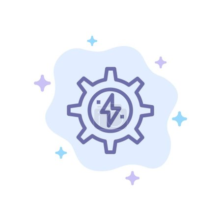 Illustration for Gear, Energy, Solar, Power Blue Icon on Abstract Cloud Background - Royalty Free Image
