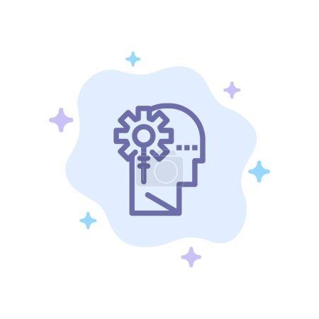 Illustration pour Analytique, critique, humain, information, traitement Icône bleue sur fond de nuage abstrait - image libre de droit