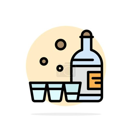 Illustration for Drink, Bottle, Glass, Ireland Abstract Circle Background Flat color Icon - Royalty Free Image