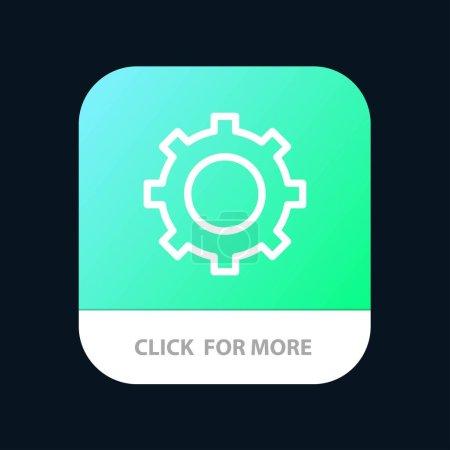 Cog, Configuración, Botón de aplicación móvil de engranajes. Línea de Android e IOS Versi