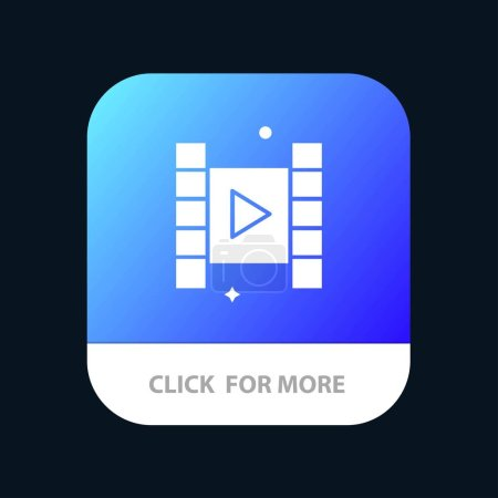 Botón de aplicación móvil de vídeo, Reproducir, Película. Android y IOS Glyph Versi