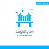 Across Bridge Metal River Road Blue Solid Logo Template Pla