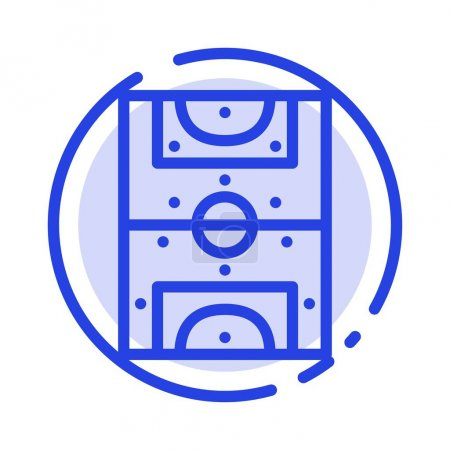 Illustration for Entertainment, Game, Football, Field Blue Dotted Line Line Icon - Royalty Free Image