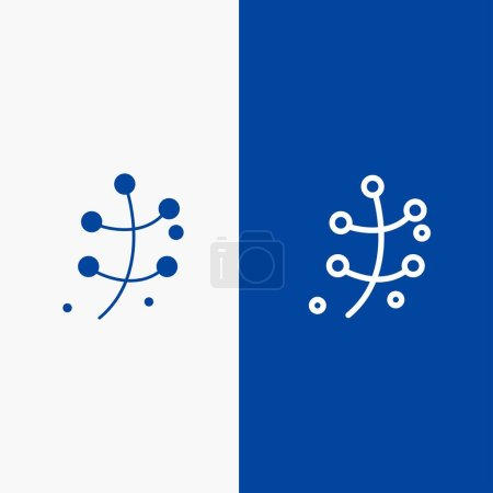 Illustration for Growth, Leaf, Plant, Spring Line and Glyph Solid icon Blue banner Line and Glyph Solid icon Blue banner - Royalty Free Image