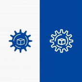 Automated Data Solution Science Line and Glyph Solid icon Blu
