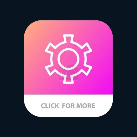 Cog, engranaje, ajuste de botón de aplicación móvil. Línea de Android e IOS Versi