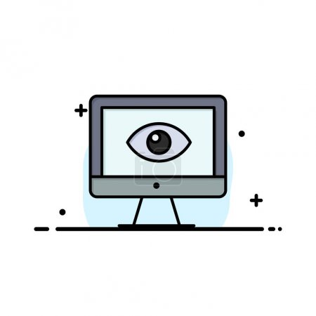 Photo for Monitor, Online, Privacy, Surveillance, Video, Watch Business Logo Template. Flat Color - Royalty Free Image