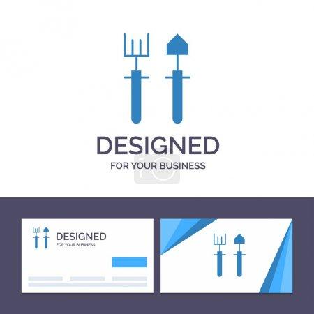 Illustration for Creative Business Card and Logo template Garden, Gardener, Rake, Shovel Vector Illustration - Royalty Free Image