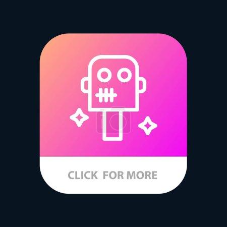 Espacio, Traje, Robot botón de aplicación móvil. Línea de Android e IOS Versi