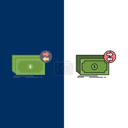 Illustration for Banknotes, cash, dollars, flow, money Flat Color Icon Vector - Royalty Free Image