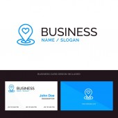 Location Map Location Finder Pin Heart Blue Business logo an