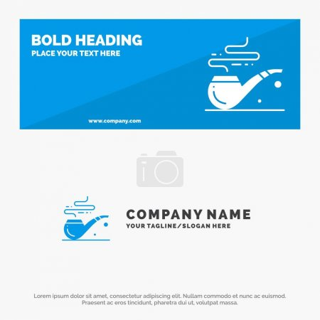 Illustration for Pipe, Smoke, St. Patrick, Tube SOlid Icon Website Banner and Business Logo Template - Royalty Free Image