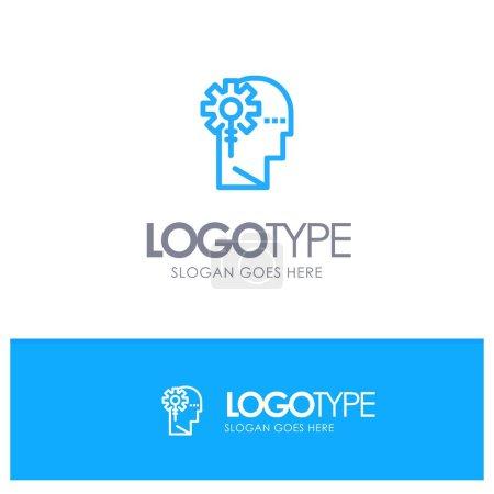 Illustration pour Analytique, critique, humain, information, traitement Logo bleu outline avec place pour le slogan - image libre de droit