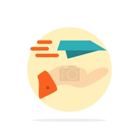 Illustration for Hand, Mail, Paper Plane, Plane, Receive Abstract Circle Background Flat color Icon - Royalty Free Image