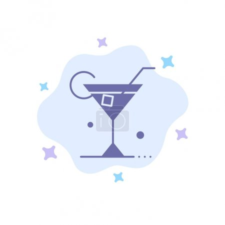 Photo for Glass, Drink, Wine, Spring Blue Icon on Abstract Cloud Background - Royalty Free Image