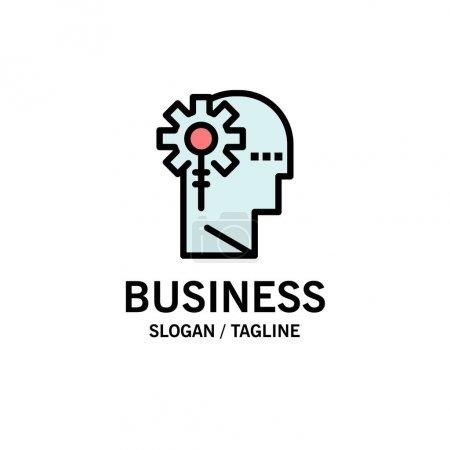 Illustration pour Modèle de logo d'entreprise d'analyse, critique, humain, d'information et de traitement. Couleur plate - image libre de droit