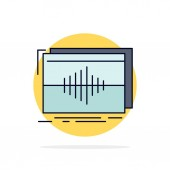 Audio frequency hertz sequence wave Flat Color Icon Vector