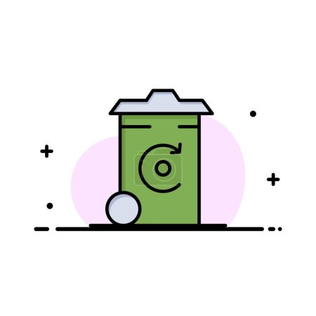 Illustration for Bin, Recycling, Energy, Recycil bin Business Logo Template. Flat Color - Royalty Free Image