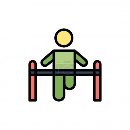 Exercise, Gym, Gymnastic, Health, Man  Flat Color ...