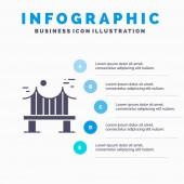 Across Bridge Metal River Road Solid Icon Infographics 5 Ste