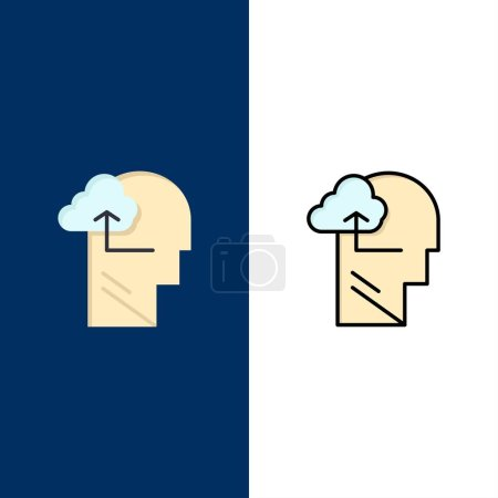 Experience, Gain, Mind, Head  Icons. Flat and Line...