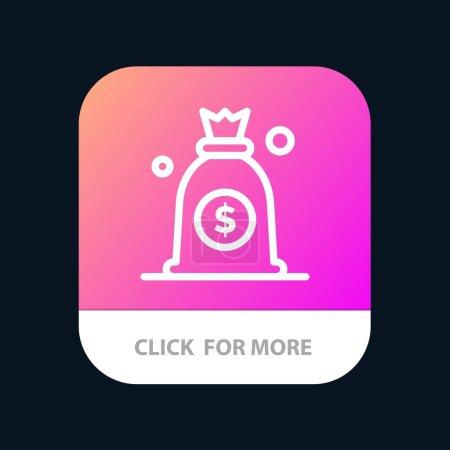Dólar, Dinero, Bolsa botón de aplicación móvil. Línea de Android e IOS Versi