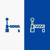 Flag Train Station Line and Glyph Solid icon Blue banner Line
