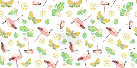 Illustration for Exotic jungle flamingo pastel seamless summer pattern. Boanical leaf and flamingo bird in pastel blue and pink tones. For fashion, fabric, wallpaper, packaging design, stationary. - Royalty Free Image