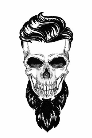 Monochrome illustration barbershop of skull with b...