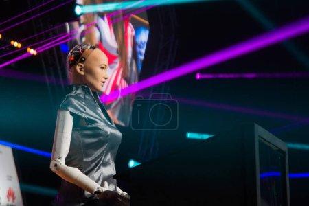 Photo pour 26.06.2018 Sofia (Bulgarie): Festival webite, Sophia Ai Robot de Hanson Robotics donnant une conférence - image libre de droit