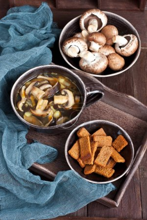Photo for Home made mushroom soup with potato and carrot - Royalty Free Image