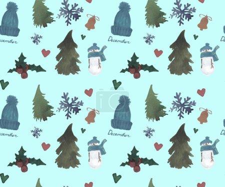 Photo pour Dessin à la main d'hiver motif de Noël aquarelle, motif sans couture Nouvel An, célébrer le thème . - image libre de droit