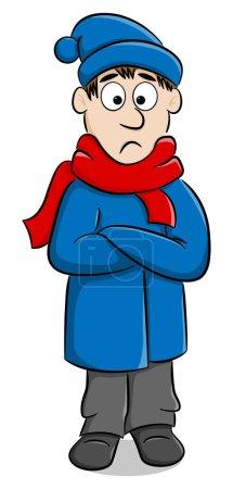Illustration pour Illustration vectorielle d'un homme avec un manteau épais, une écharpe et une casquette qui gèle - image libre de droit