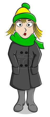 Illustration pour Illustration vectorielle d'une femme avec un manteau épais, une écharpe et un bonnet qui gèle - image libre de droit