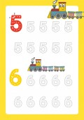 Free handwriting pages for writing numbers Learning numbers Numbers tracing worksheet for kindergarten vector with train cartoon train clipart