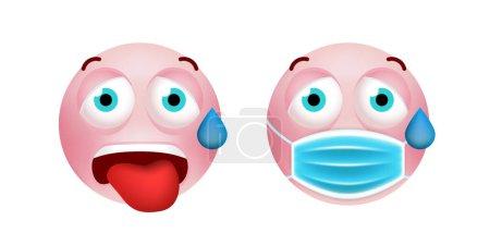 Photo pour Émoticône rose mignon avec style de bande dessinée avec masque facial médical sur fond blanc. Illustration vectorielle isolée - image libre de droit