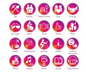 Instagram Stories circle icons set - The contour drawings illustrating the spheres of life