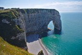 View of the cliffs of Etretat in Normandy, France