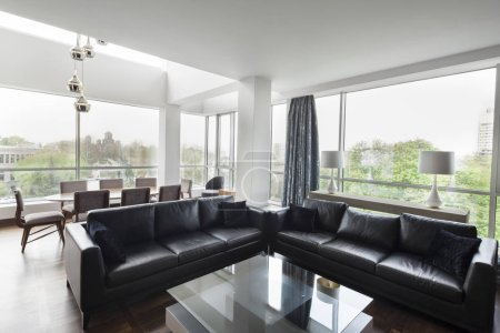 Photo for Open plan living room of a luxury duplex apartment - Royalty Free Image