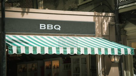 Photo for Street Sign the Direction Way to BBQ - Royalty Free Image