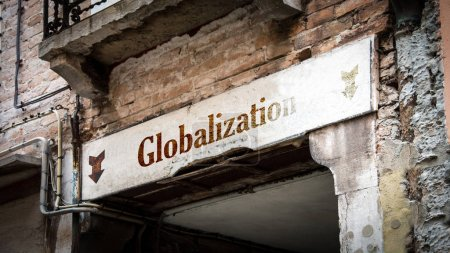 Photo for Street Sign the Direction Way to Globalization - Royalty Free Image