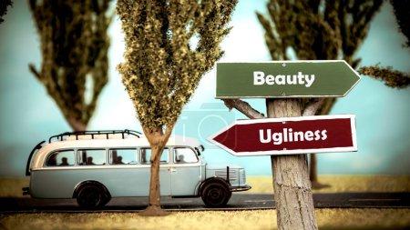 Photo pour Street Sign the Direction Way to Beauty versus Ugliness Street Sign the Direction Way to Beauty versus Ugliness Street Sign the Direction Way to Beauty versus Ugliness Street Sign - image libre de droit