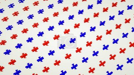 Photo pour Fond des avions de jouet rouge et bleus. Illustration de rendu 3d - image libre de droit