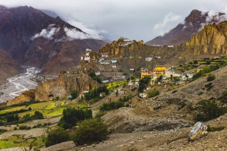 Dhankar, a remote village on the slops of the high and arid Himalayan valleys, India.