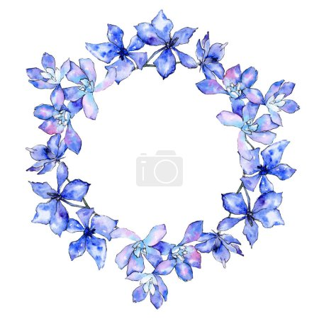 Photo pour Fleurs d'orchidée pourpre. Illustration de fond aquarelle. Cadre bordure ornement couronne . - image libre de droit