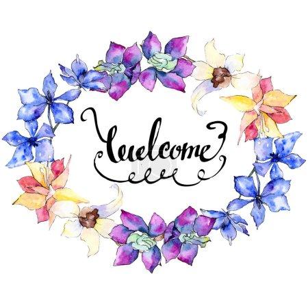Purpurowe, żółte i białe kwiaty orchidei. Zapraszamy pisma monogram kaligrafii. Ilustracji tle akwarela. Ramki granicznej ornament Wieniec.