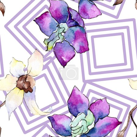 Purple and white orchid flowers. Seamless background pattern. Fabric wallpaper print texture. Watercolor background illustration.