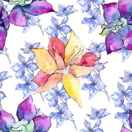 Purple and yellow orchid flowers. Seamless background pattern. Fabric wallpaper print texture. Watercolor background illustration.